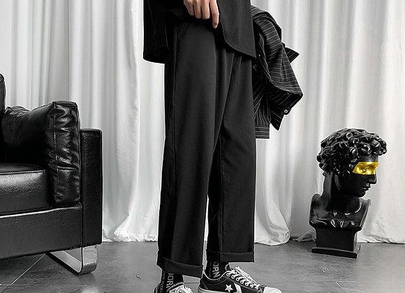 LAPPSTER Mens Black Korean Harem Pants