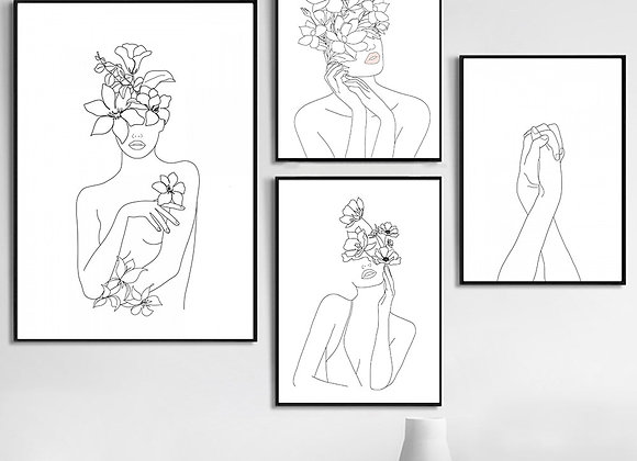 Line Woman Face With Flowers Posters and Prints Wall Art Canvas Painting
