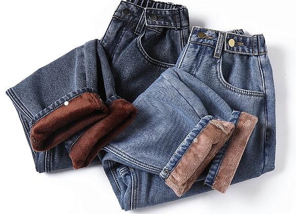 Winter Thick Fleece Warm Loose Pants Jeans