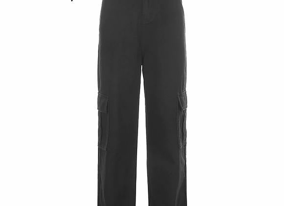 Weekeep Pockets Patchwork High Waist Jeans