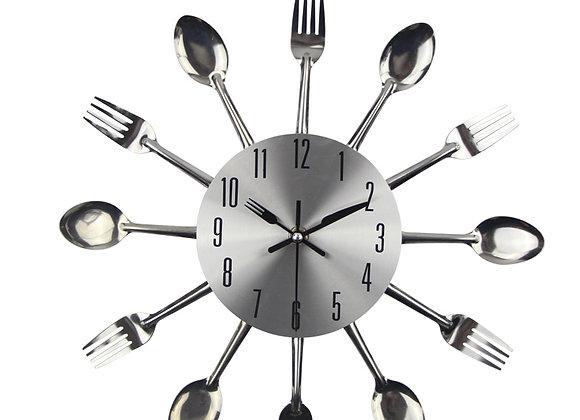 2020 Wall Clock Kitchen Noiseless Stainless Steel Cutlery Clocks
