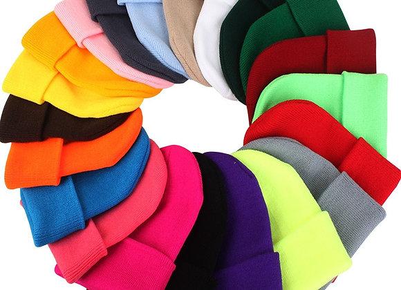 Winter Beanies Knitted Fluorescent Hats