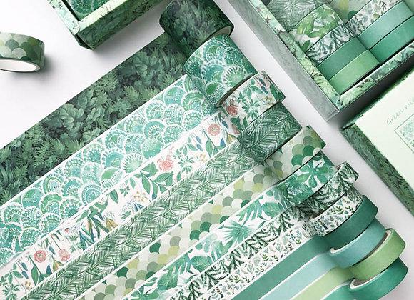 12Pcs/Set Green Plant Washi Tape Solid Color Masking Tape