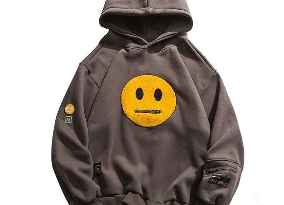 GONTHWID Zipper Pocket Smile Face  Fleece Hoodies