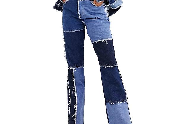 Liooil Patchwork Skinny Straight Leg Jeans