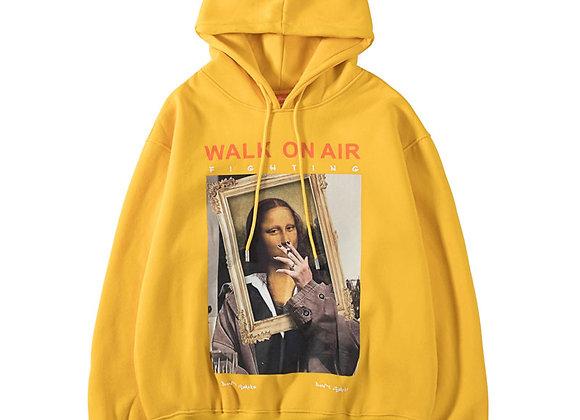 GONTHWID Funny Mona Lisa Smoking Print Fleece Hoodies