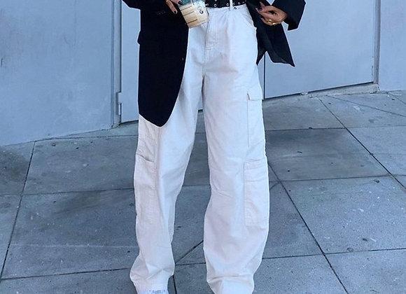 Weekeep Fashion Pocket White Women's Jeans Streetwear