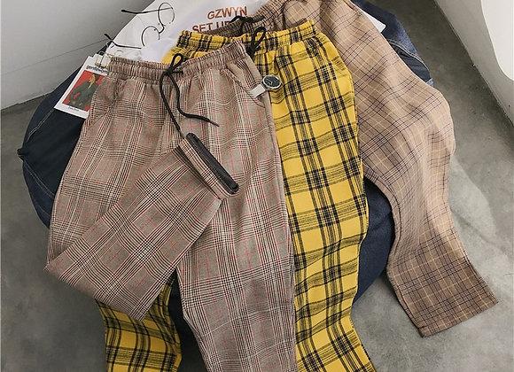 Privathinker Black Plaid Casual Pants Streetwear