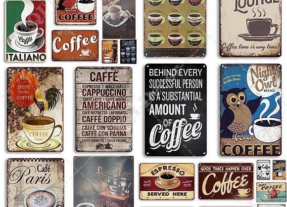 Coffee Tin Sign Vintage Metal Sign Plaque Metal Vintage Wall Decor