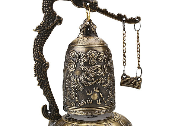 Buddhism Temple Brass Copper Dragon Bell Clock Carved