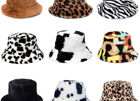 Winter Cow Leopard Print Faux Fur Plush Bucket Hats