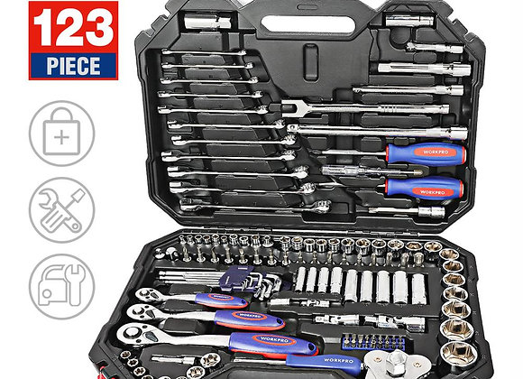 WORKPRO Tool Set Hand Tools for Car Repair Ratchet Spanner Wrench