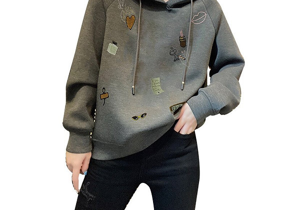 Retro Style Popular Printed Short-Length Gray Hood