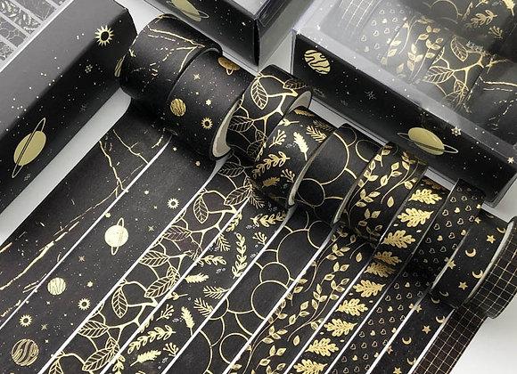 10 Pcs/Set Black Gold Washi Tape Vintage Galaxy Masking Tape