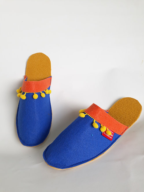 Decorated Royal Blue Slippers Pantifas