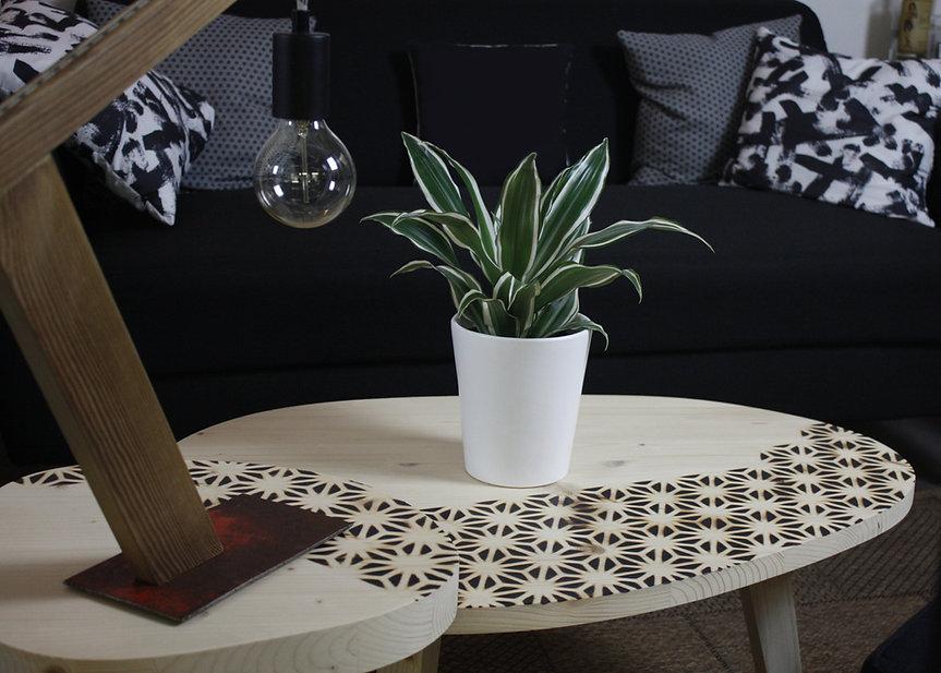 woodaucarre - Tables gigognes motifs brûlés Asanoha pour Alchemink