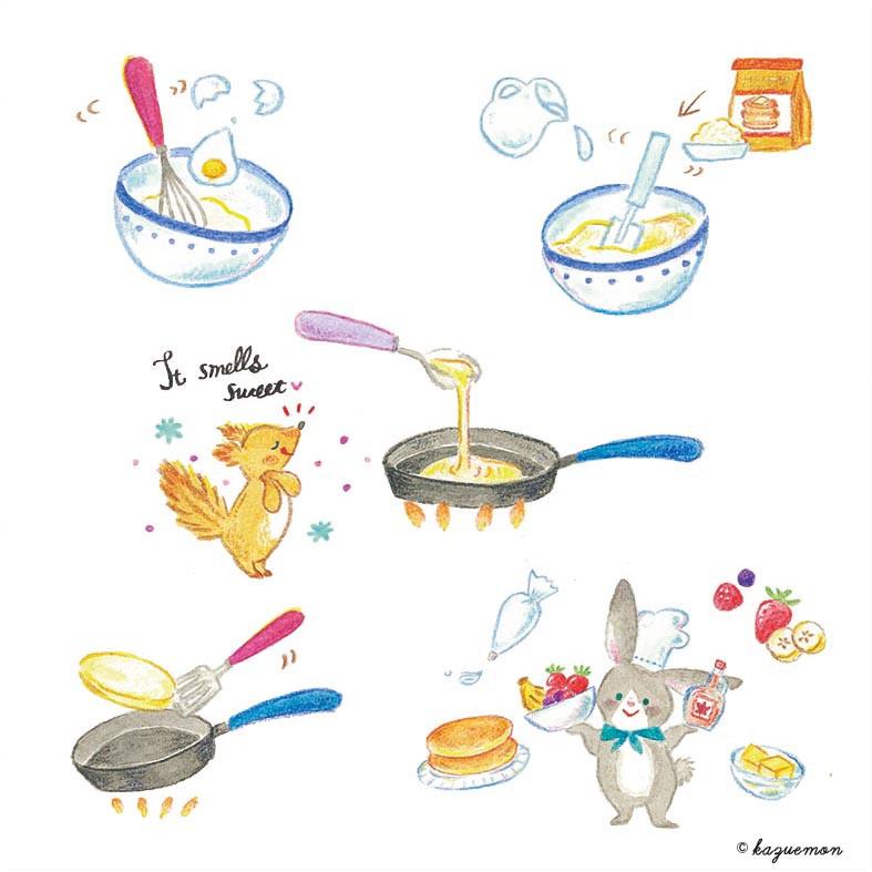 パンケーキ レシピイラスト
