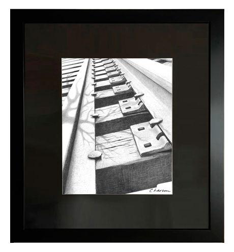 Railroad art, railroad tracks art, railroad pencil drawing, train tracks art