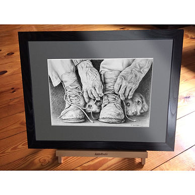 dog drawing, shoe art, mans best friend art, hands art, work boots drawing, beautiful image, dog image, Shoe artwork