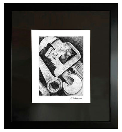 tool art, wrenches art, tool pencil drawing, pipe wrench art, toolbox art