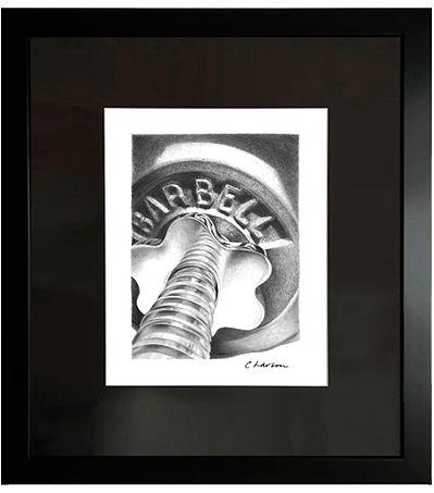 Barbell art, Barbell drawing, weightlifting art, pump iron art, muscle art, masculine art, black and white art