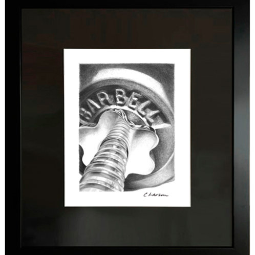 'Barbell' Framed Original Pencil Drawing