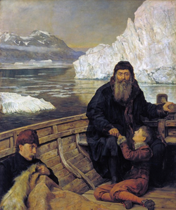 Collier painting of Hudson's Last Voyage