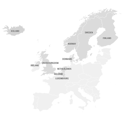 Map of European countries where TSH offer Vehicle Assistance