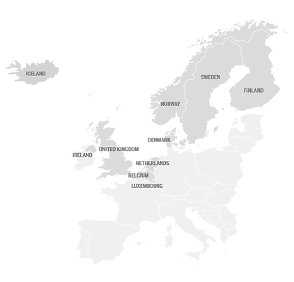 European map where TSH provide vehicle assistance