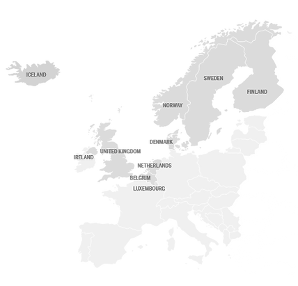 Map of European countries where TSH offer Medical Assistance