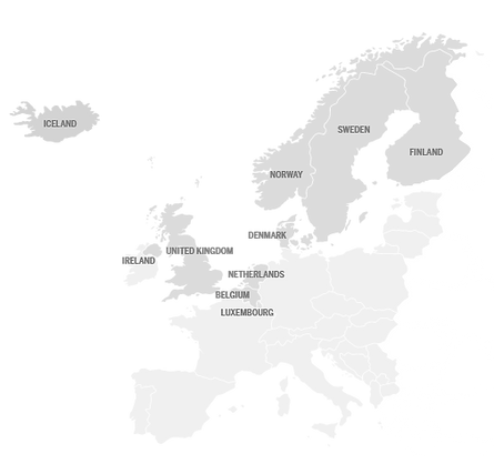 Map of Europe where TSH provides travel support