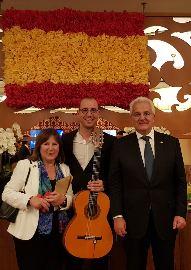 Spanish guitarist at the Spanish Embassy in Dublin.
