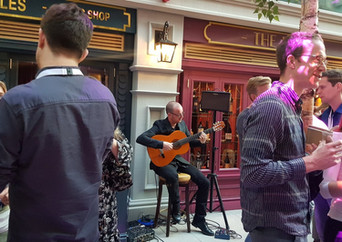 Spanish and Flamenco guitarrist playing at Google event in Dublin, Ireland..