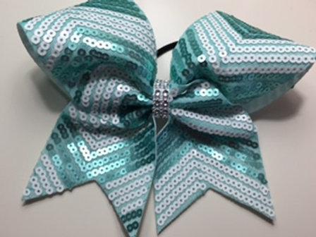 Green Sequin Chevron Cheer Bow