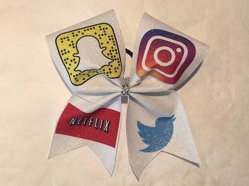 Social Media Glitter Cheer Bow