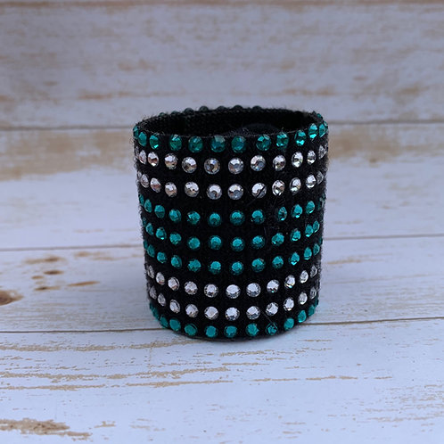 "1 1/2 "" Ponytail Cuff Teal and Crystal"