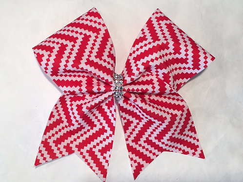 Red White Chevron Cheer Bow