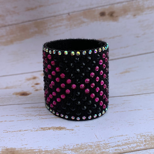 "1 1/2"" fuchsia and black ponytail cuff"