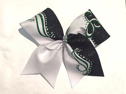 Green Black Swirl Cheer Bow