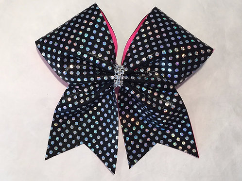 Silver Holographic Dot Cheer bow