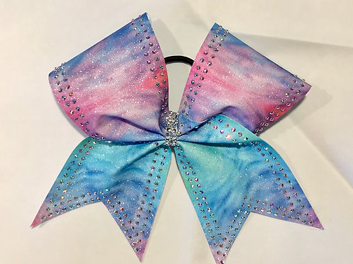 Rainbow glitter sublimated bow