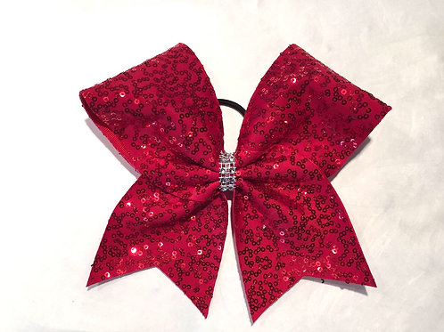 Red Sequins Cheer Bow