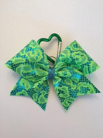 Neon Green print keychain bow