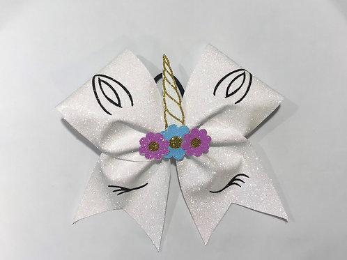 glitter unicorn bow with flowers