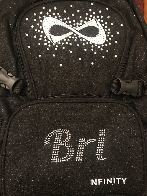 Customized Black Glitter Nfinity Backpack  3-5 Letters