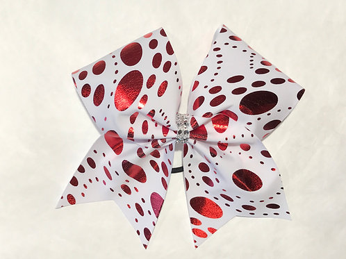 White with red foil polka dots