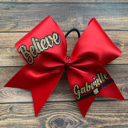 Believe Red Satin Cheer Bow