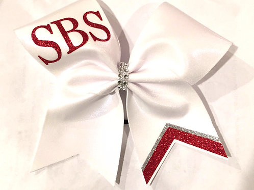 White and Red Team Cheer Bow