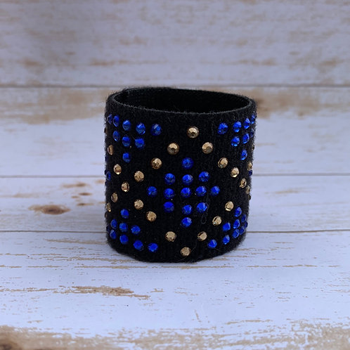 "1 1/2"" blue and gold ponytail cuff"