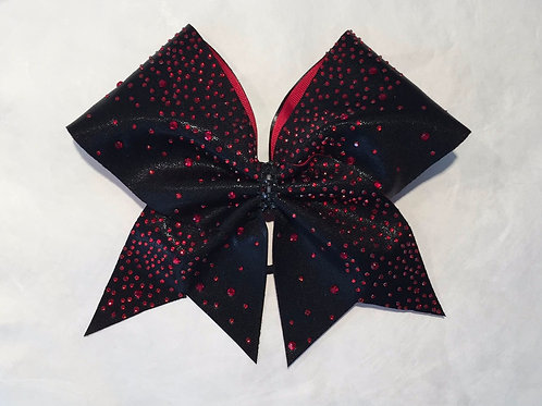 Black Bow with Red Rhinestones